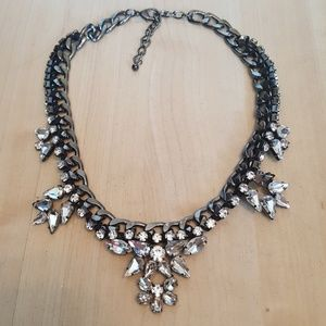 Bcbg Silver and black jeweled statement necklace